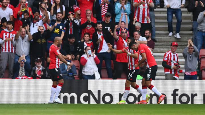 Southampton fans celebrate the goal