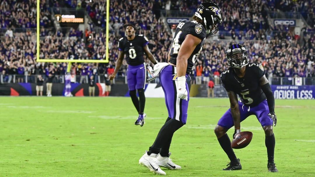 Oct 11, 2021; Baltimore, MD; Ravens wide receiver Marquise Brown (5) celebrates catching the game winning touchdown with tight end Josh Oliver (84).