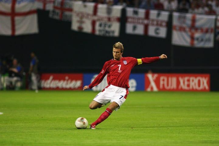 David Beckham com a camisa 7 da seleção da Inglaterra