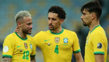 Lucas Paqueta, Marquinhos et Neymar avec le Brésil.