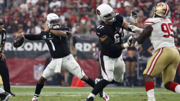 Cardinals quarterback Kyler Murray (1) throws a pass during the second half against the San Francisco 49ers.