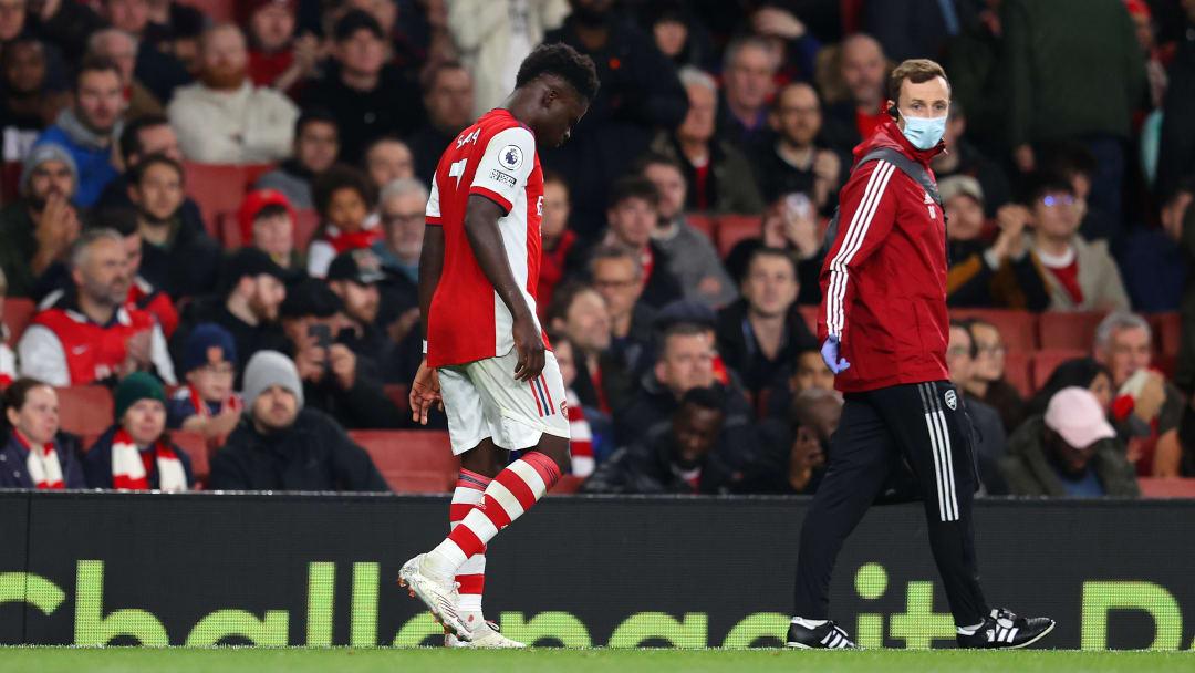 Bukayo Saka limped off against Crystal Palace