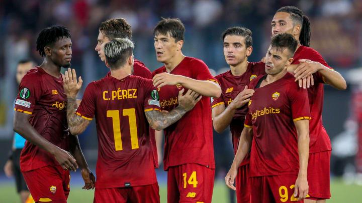 La Roma festeggia un gol contro il CSKA Sofia