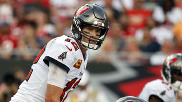 Sep 19, 2021; Tampa, Florida, USA; Tampa Bay Buccaneers quarterback Tom Brady (12) looks on against