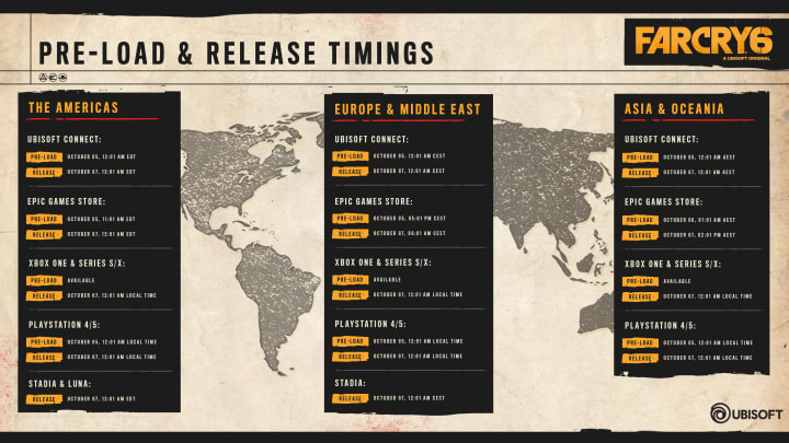 We've compiled a complete list of all dates and times when Far Cry 6 becomes available to preload across the globe.