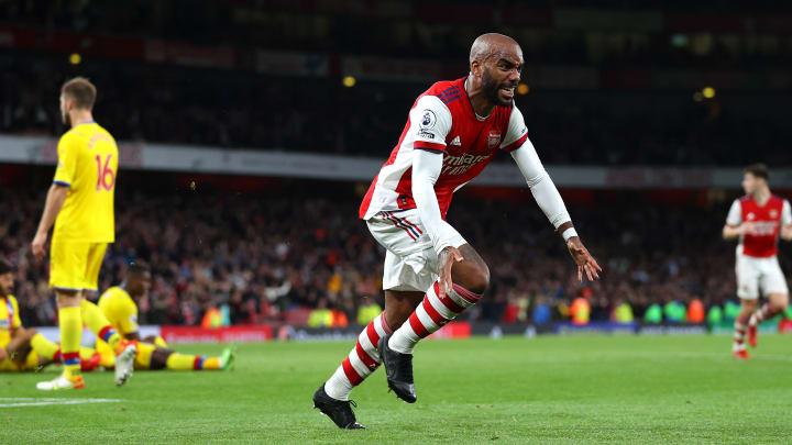 Lacazette bejubelt seinen Last-Minute-Treffer gegen Crystal Palace