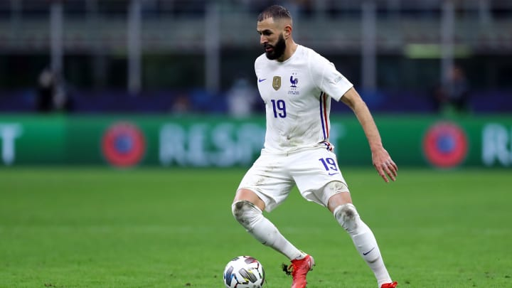Karim Benzema of France  in action during the Uefa Nations...