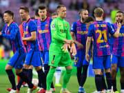Die Spieler des FC Barcelona fuhren gestern ihren ersten Sieg in der diesjährigen Champions League-Saison ein