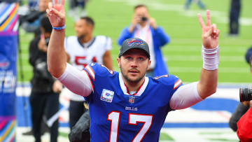 Oct 3, 2021; Orchard Park, NY; Buffalo Bills quarterback Josh Allen (17) gestures to the crowd after a victory over the Houston Texans.