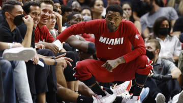 Udonis Haslem and the Heat bench.