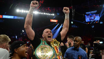 Feb 22, 2020; Las Vegas, NV; Tyson Fury celebrates after defeating Deontay Wilder in their WBC heavyweight title bout.