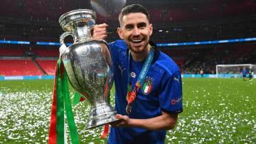 Jorginho with the Henri Delaunay trophy