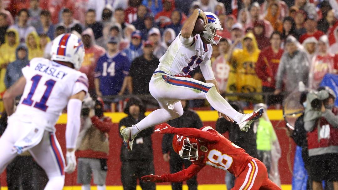Josh Allen goes airborne