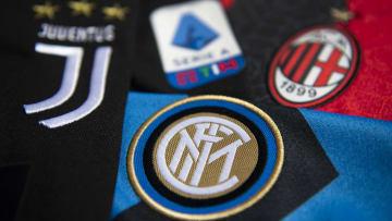 Serie A ve İtalya'nın en önemli kulüpleri Juventus, Inter ve Milan'ın logoları.
