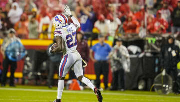 Bills cornerback Tre'Davious White (27) celebrates after recovering a fumble against the Kansas City Chiefs on SNF.