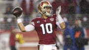 San Francisco 49ers head coach Kyle Shanahan weighs in on the uncertain future of Jimmy Garoppolo as the team's starting QB.