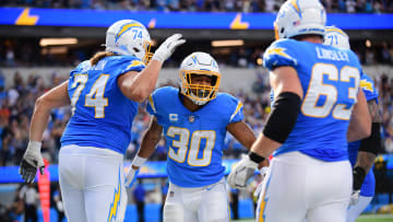 Oct 10, 2021; Inglewood, CA; Los Angeles Chargers running back Austin Ekeler (30) celebrates with the Los Angeles Chargers offensive line.