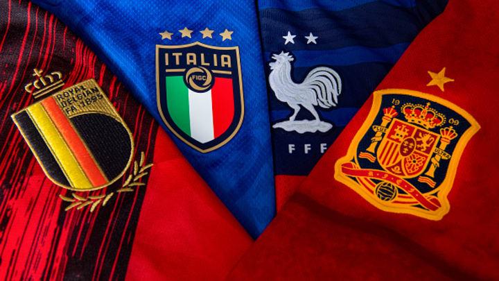 Belçika, İtalya, Fransa ve İspanya Milli Takımları'nın armaları. / Richard Juilliart - UEFA/UEFA via Getty Images