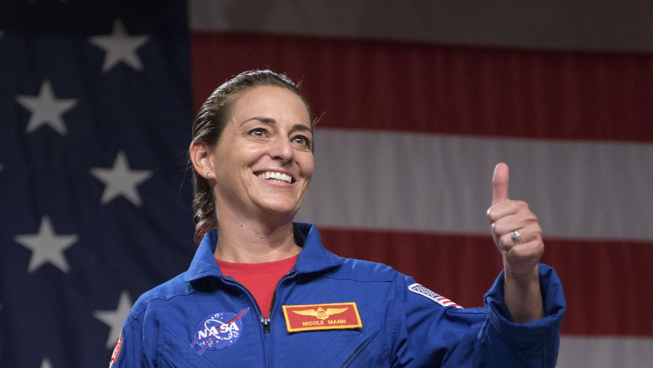 NASA astronaut Nicole Aunapu Mann at an event in August 2018