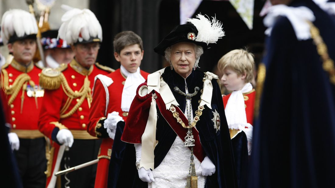 Queen Elizabeth II attends The Order of the Garter Service in 2010 at St. George's Chapel, Windsor Castle in Windsor, England. The Order of the Garter is the most senior and the oldest British Order of Chivalry and was founded by Edward III in 1348.