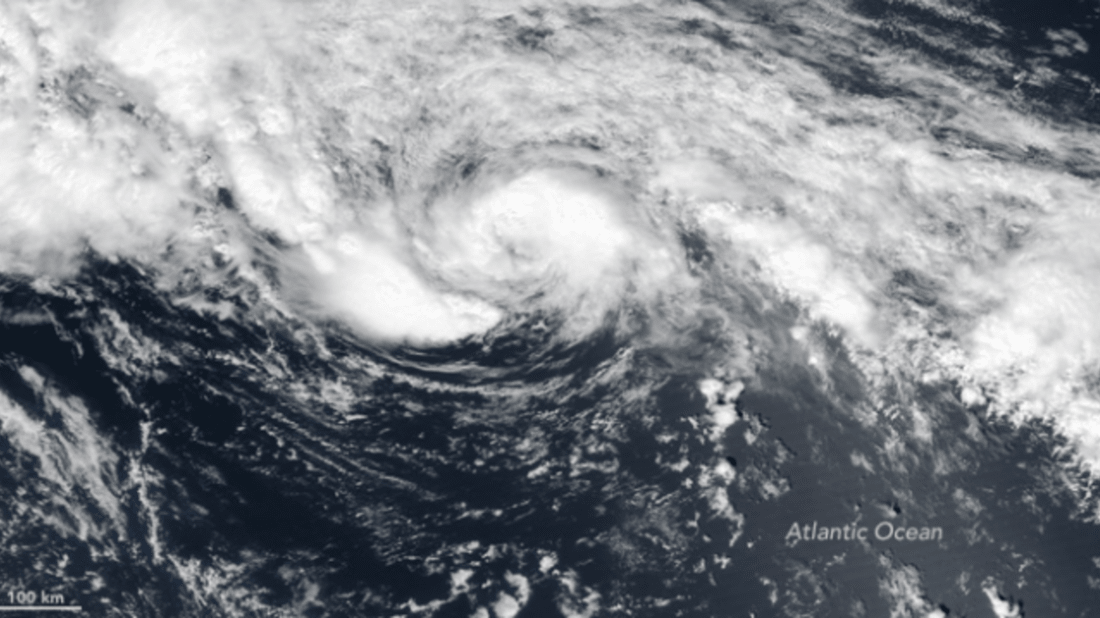 A tiny Tropical Storm Arlene swirls harmlessly in the central Atlantic Ocean on April 20, 2017.