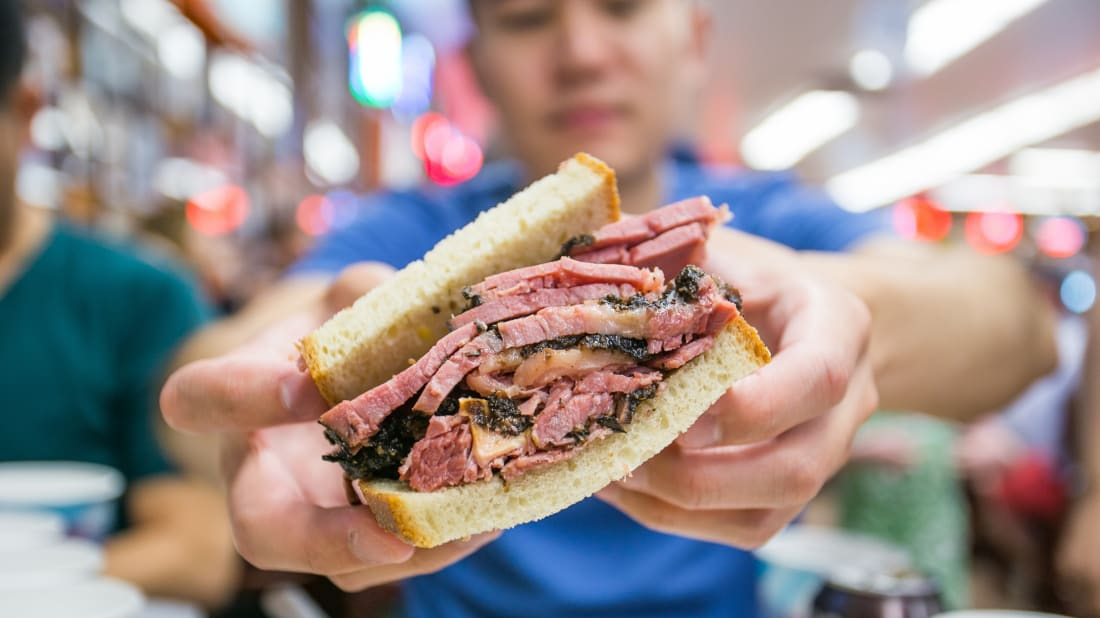 A pastrami on rye sandwich at Katz's Deli in New York City.