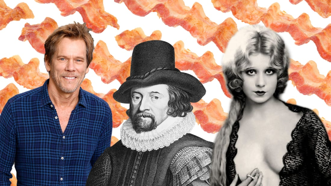 Kevin Bacon and Sir Francis Bacon // Getty. Faith Bacon // Wikimedia Commons. Background // iStock