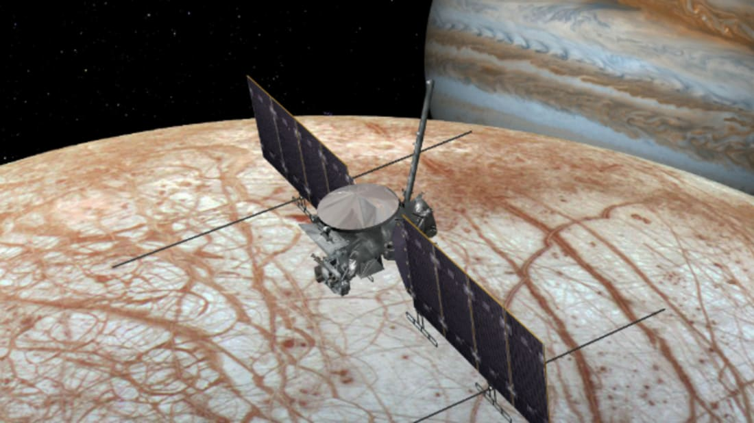 An artist's rendering of the Europa mission's spacecraft. Main Image: NASA/JPL-Caltech Banner Image: NASA/JPL-Caltech