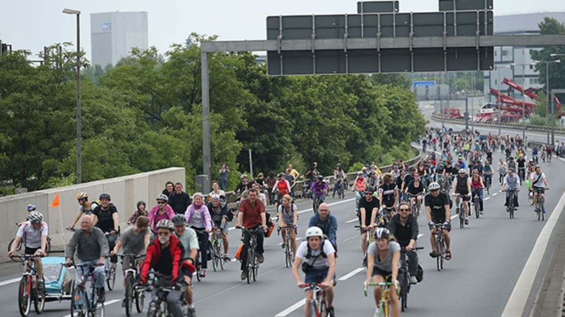 Berlin's annual cycling takeover Fahrradsternfahrt, in 2015. Photo by Sean Gallup/Getty Images