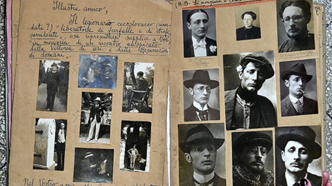 Pictures of disguises in Dosi's scrapbook via Getty Images