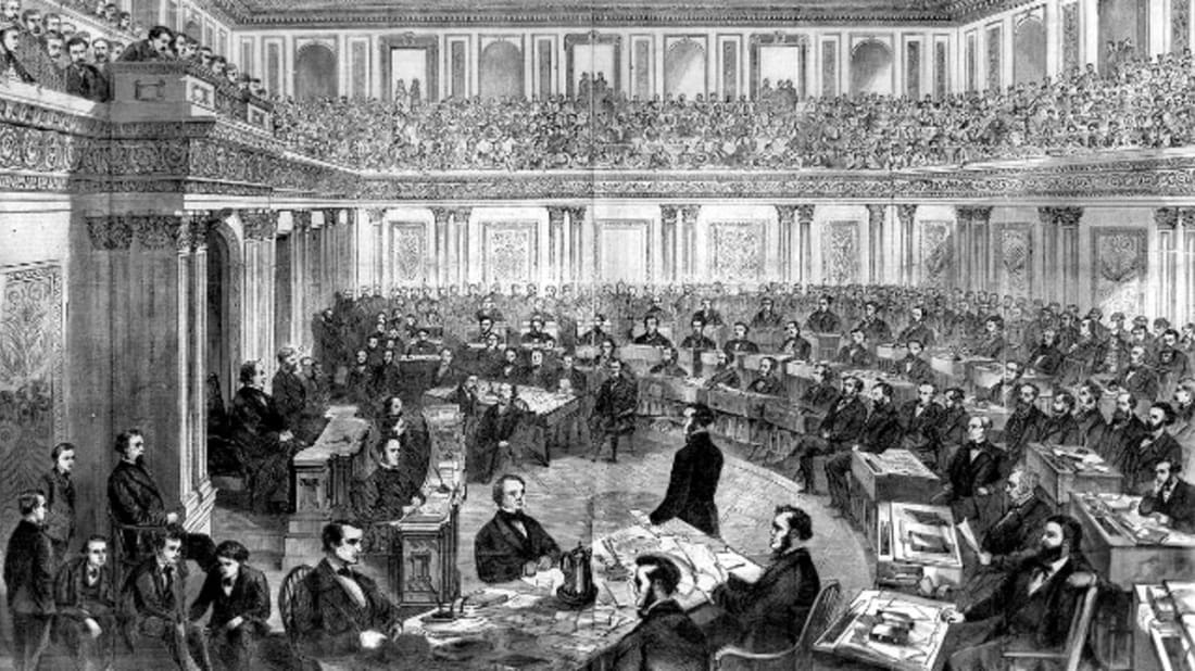 Impeachment trial of Andrew Johnson. Harper's Weekly, Wikimedia Commons // Public Domain