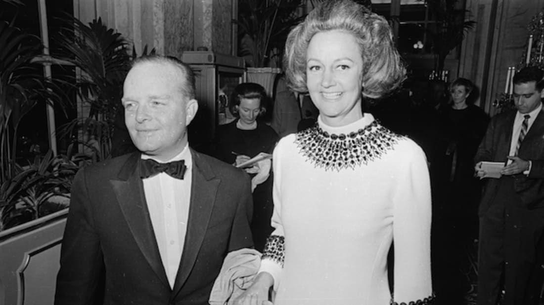 Truman Capote at his Black and White Ball at the Plaza Hotel New York, with 'The Washington Post' publisher Katharine Graham. Photo by Harry Benson/Express/Getty Images