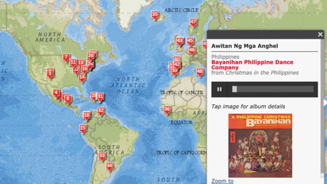 Interactive Map Showcases Holiday Music From Around the ... on phileas fogg's journey map, nature map, for the world map, wild west map, france map, around the globe, travel map, western map, canada map, asia map, india map, battle of the atlantic map, europe map, hole in the wall map, across the country map, london map, brazil map, cities of the world map, all of the world map,
