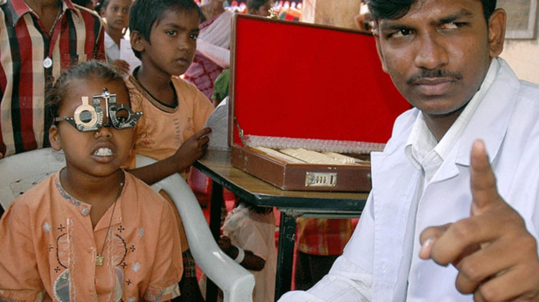 A young girl receives an eye test in Hyderabad. Image credit: NOAH SEELAM/AFP/Getty Images