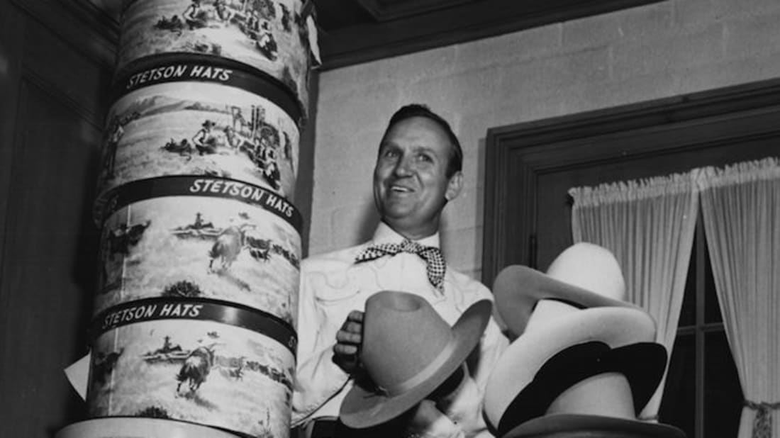 8bd2dca7a374a8 Gene Autry with his collection of Stetson hats, circa 1950s. Getty