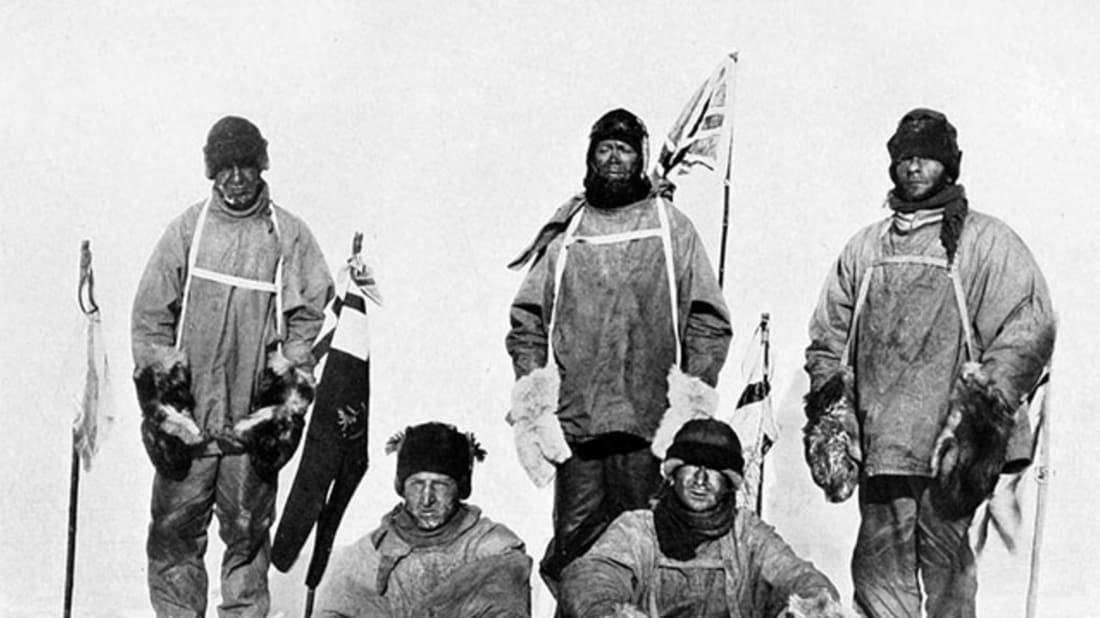 Scott's party at the South Pole. Henry Bowers via Wikimedia Commons // Public Domain