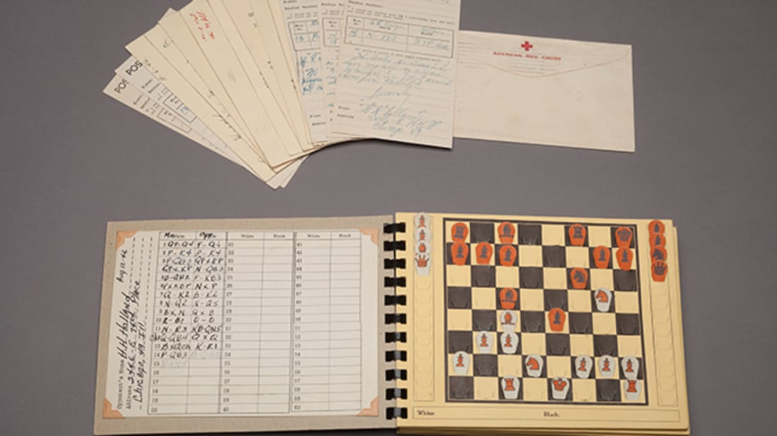 Chess for the Wounded Postal Chess Recorder. 1946. Collection of the World Chess Hall of Fame. Image courtesy of the World Chess Hall of Fame