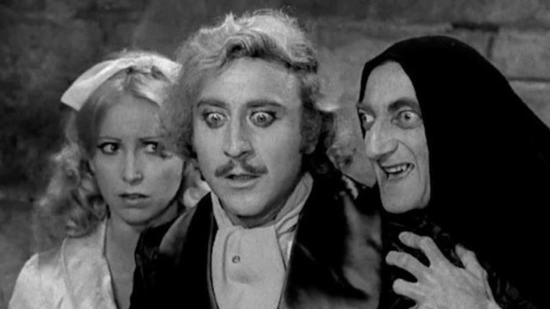Teri Garr, Gene Wilder, and Marty Feldman in Young Frankenstein (1974).