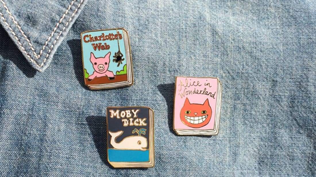 Book-Themed Enamel Pins Are the Perfect Thing for Trendy