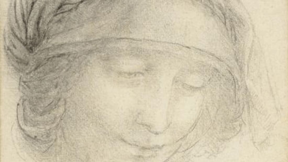 """A study for the head of St Anne."" Image Credit: The Royal Collection."