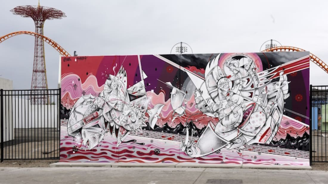 How & Nosm Coney Art Walls mural (2015)- Image via Martha Cooper
