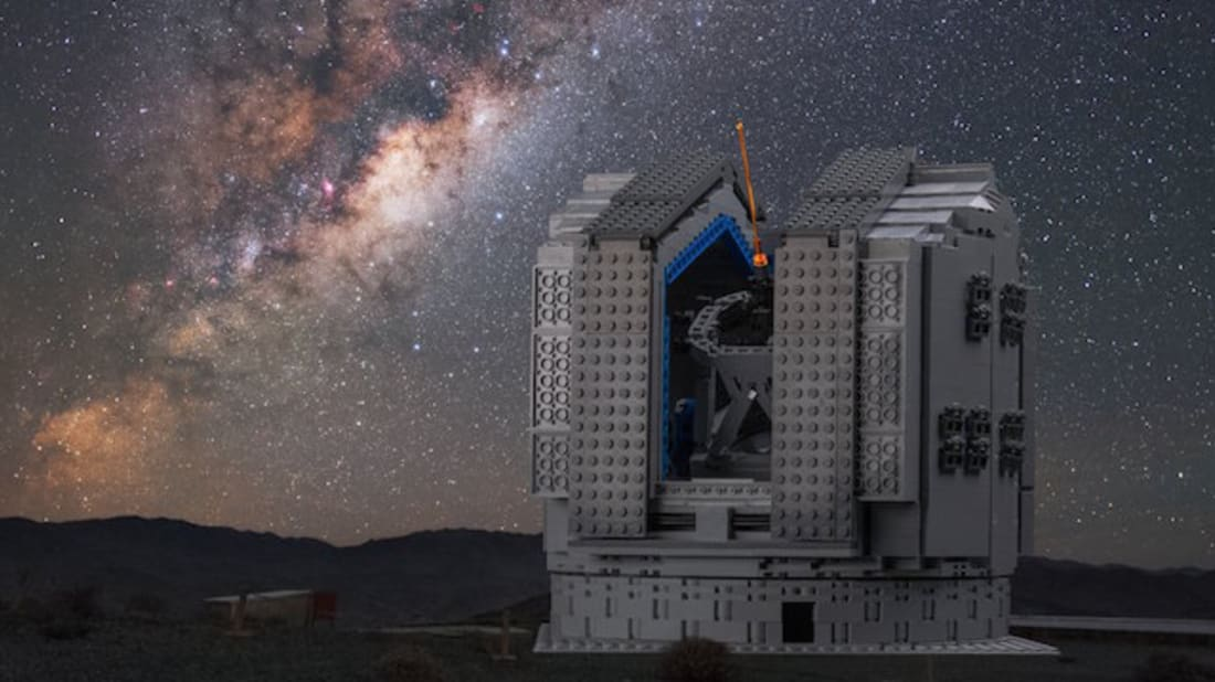 The LEGO® VLT model against the real Milky Way / Y.Beletsky/ESO/F. Snik/M. Zamani