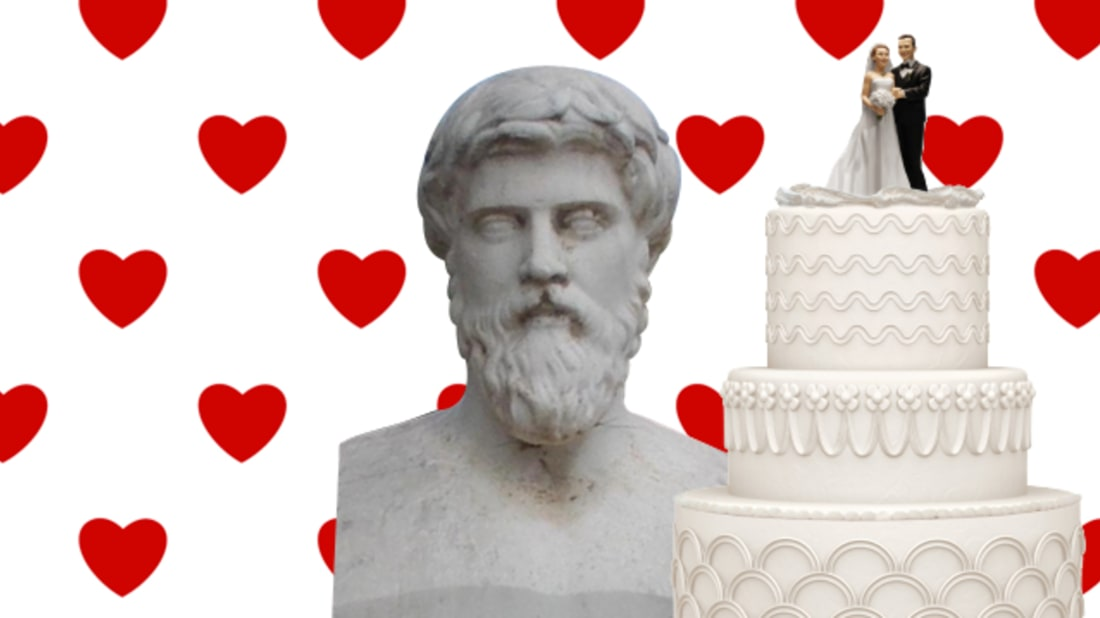 REBECCA O'CONNELL // WIKIMEDIA COMMONS (PLUTARCH), ISTOCK (CAKE + BACKGROUND)