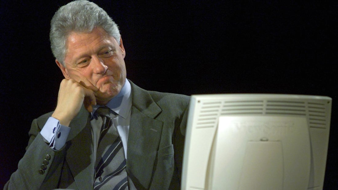 Bill Clinton Participating in the First Presidential Webchat // Getty Images