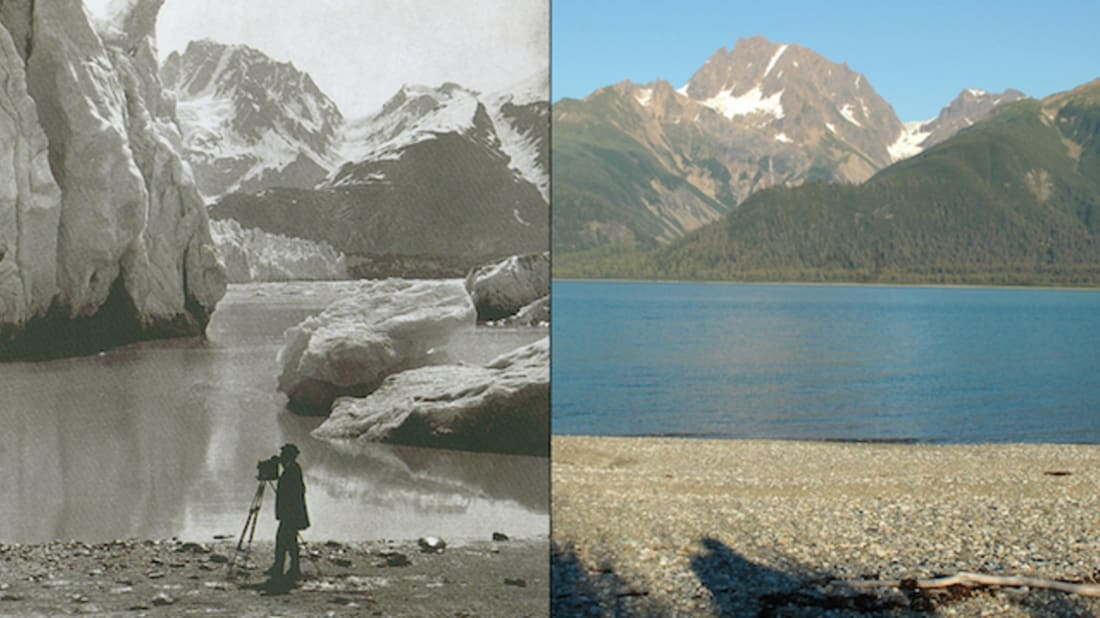 Left: Muir Glacier Melt, Alaska, 1891 (G.D. Hazard). Right: 2005 (Bruce F. Molnia). Images courtesy of the Glacier Photograph Collection and the National Snow and Ice Data Center