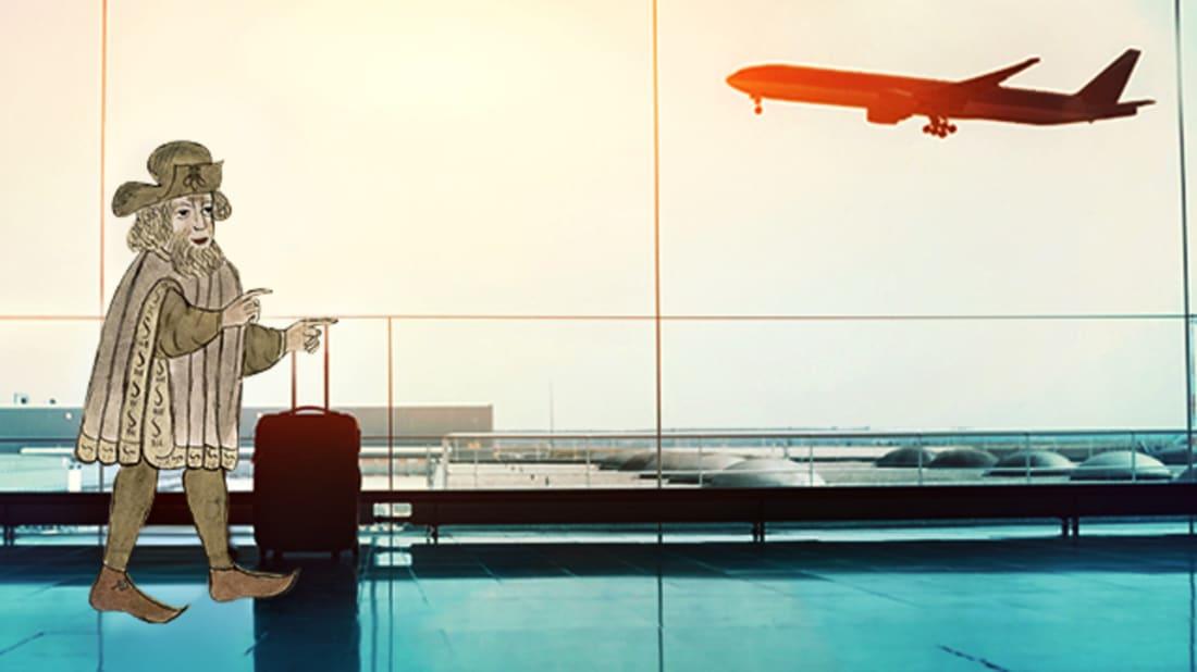 CHLOE EFFRON // WIKIMEDIA COMMONS (SIR JOHN MANDEVILLE), ISTOCK (AIRPORT)