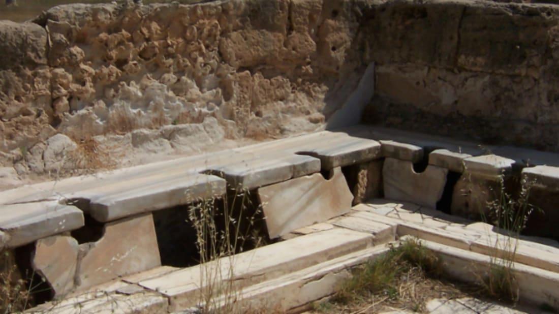 Roman latrines in modern-day Libya. Image Credit: Craig Taylor
