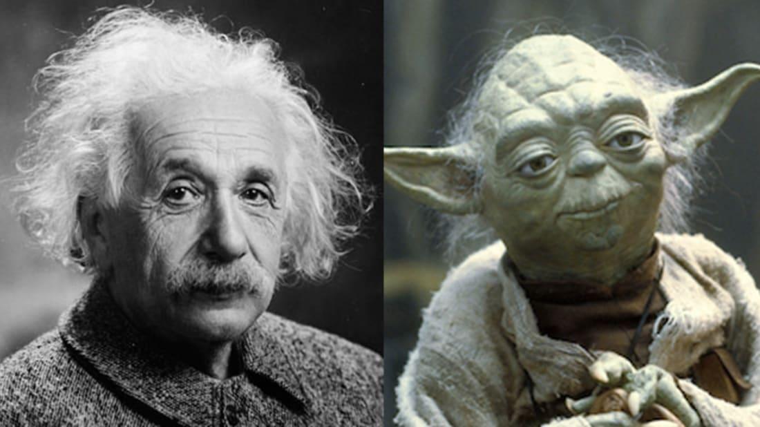 Wikimedia Commons, Public Domain (Einstein); Wikimedia Commons, Fair Use (Yoda)
