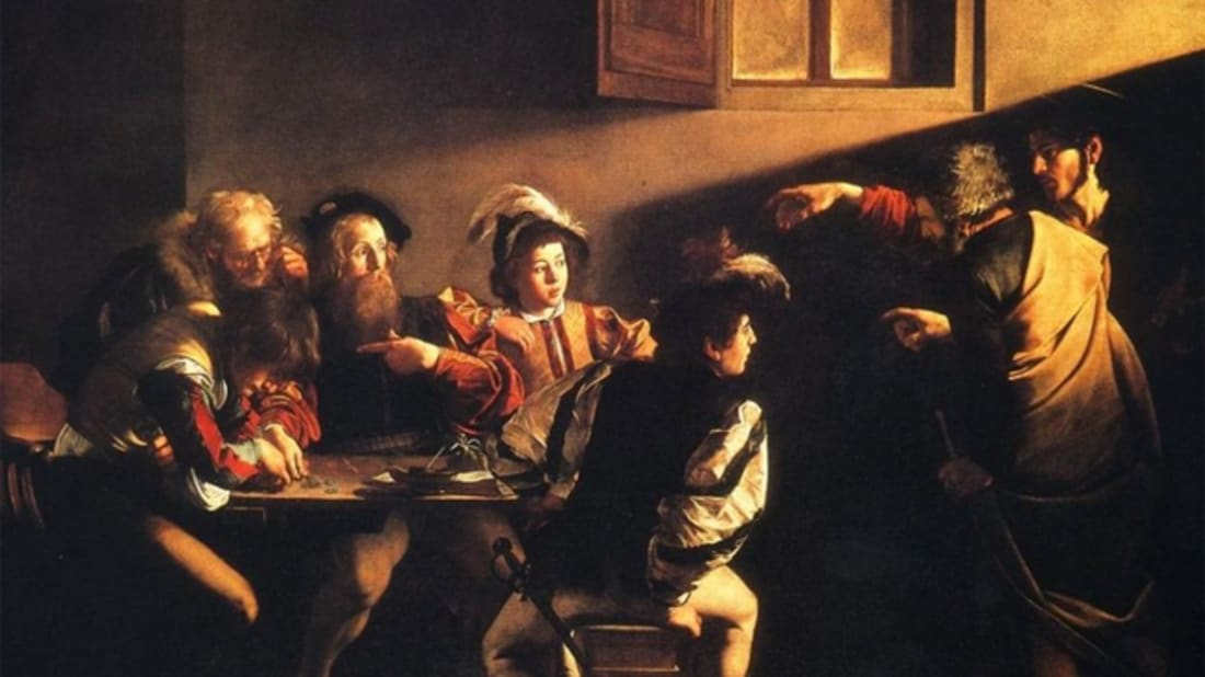 How does caravaggio draw attention to the figure of christ in the calling of st. matthew