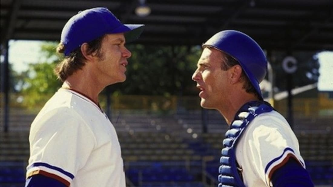 Tim Robbins and Kevin Costner face off in Bull Durham (1988).
